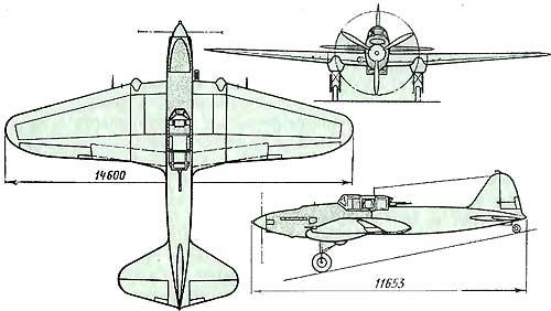 """Схема двухместного самолета Ил-2 (крыло со  """"стрелкой """").  Для облегчения подъема хвоста при взлете двухместного..."""